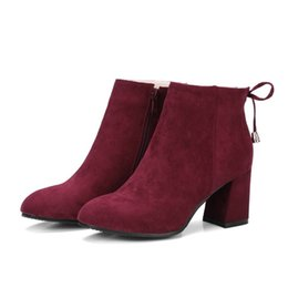 $enCountryForm.capitalKeyWord UK - Fashion Hot Sale Womens Ladies Solid Color Square Toes Shoes Chunky Heel Zip Ankle Boots B906 Size Customized Size All