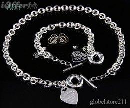 Продажа 2018 новый дизайнер новый мода tiffany925 серебряные ювелирные изделия ожерелья и браслеты + серьги A95 подарок с коробкой горячей