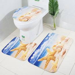 $enCountryForm.capitalKeyWord NZ - 3 Pcs Bath Mats Toilet Cover Bath Mats Set Starfish Printed Anti Slip Washable Rugs For Bathroom Washroom Floor Mat Carpet