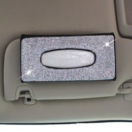 $enCountryForm.capitalKeyWord Australia - Bling Bling Women Car Tissue Box Sun Visor Tissue Bag Crystals Sunroof Seat Back Hanging Paper Towel Cover Case for Interior