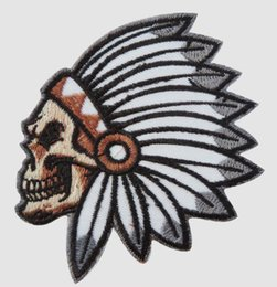 $enCountryForm.capitalKeyWord Australia - Skull Bone Head American Indian Chief Patch Iron On Patch Motorcycle Biker Club Front Jacket Vest Patches for Clothing Free Shipping