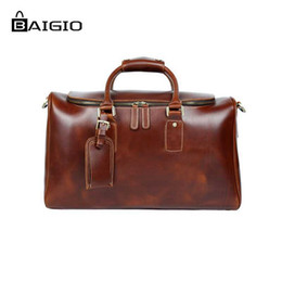 3af1bc6f8 Wholesale-Baigio Genuinie Leather Travel Bags for Men Duffle Overnight  Weekender Bag Carry on Shoulder Luggage Men's Business Bag