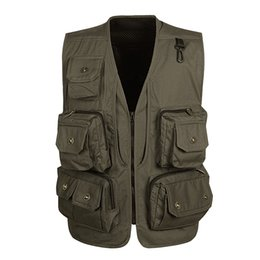 $enCountryForm.capitalKeyWord NZ - High Quality Multi Pocket Vest For Men Summer Mesh Casual 4 Color Windbreaker Photographer Tool Sleeveless Jacket Male Waistcoat