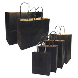 20 Pcs lot Gift Bags With Handles Multi-function High-end Black Paper Bags 6 Size Recyclable Environmental Protection Bag on Sale