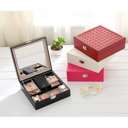 Mediterranean Gifts Canada - New Style Fashion Design 4 Color Luxury Leather Jewelry Display With Mirror Lovely Gift Cosmetic Box Wholesale and Retail