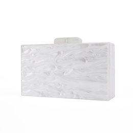 China Clutch Bag UK - Fashion Lady Bridal Handmade China Factory Supplier Size 18X10 cm With Mirror Inside Pearl White Acrylic Box Bags Acrylic Clutch