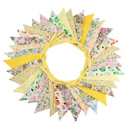 China 36 Flags 10m Yellow Flowers Designs Cotton Fabric Bunting Pennant Flags Banner Garland Wedding Party Outdoor DIY Home Decoration supplier wedding fabric garland suppliers