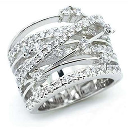 Ingrosso Nuovi anelli d'argento della pietra di zircon dell'oro di rosa di arrivo per l'anello di cerimonia nuziale di fidanzamento dei monili di modo delle donne