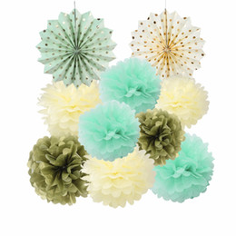 pompoms decorations NZ - 10pcs Mixed (20cm 25cm 30cm) pompoms pom pom balls Origami Paper Fan Wedding Baby Shower Party Decoration Supplies