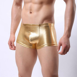 72bd64822027 2018 Sexy Faux Leather Underwear Men U Convex Pouch Panties Boxers Shorts  Gay Underpants Erotic Black Silver Gold Male Boxer