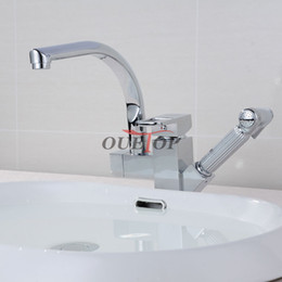 Wholesale Torneira Cozinha Polished Chrome Brass Double Spouts Degree Pull Out Kitchen Faucet Kitchen Tap Sink Mixer
