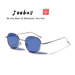 b2fb365e404 Joubas Retro Steampunk Sunglasses Womens Mens 2018 Metal Small Round Sun  glasses Blue Eyeglasses Brand Designer gafas de sol 94