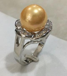 Shipping Free China Ring Pearl Australia - Free Shipping R004 New lady's fashion silver plated inlay crystal 12mm yellow shell pearl ring SIZE 6 7 8 9 10