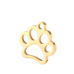 Chinese  Silver gold Pendant custom Handcrafted Brushed Metal Cut Out Paw print stainless steel Necklace Key chain manufacturers