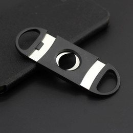 black cutters NZ - Pocket Plastic Stainless Steel Double Blades Cigar Cutter Knife Scissors Tobacco Black New