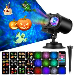 Wholesale Halloween Christmas Decoration Projector Light Slides RGBW Water Wave Light Waterproof Outdoor Indoor Landscape Light For Party Wedding