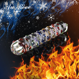dildo female massage Canada - AuReve Glass Double Dildo Pyrex Crystal Penis With Colorful Massage Particle Sex Toys For Woman Couple Lesbian Free Shipping Y18110504