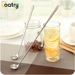 long spoon stainless NZ - 1pcs Stainless Steel Long Handle Spoons Ice Cream Dessert Coffee Stirring Cocktail Teaspoons Soup Ladle Drink Condiment