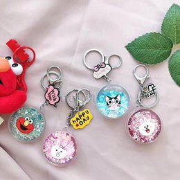 $enCountryForm.capitalKeyWord Australia - Fashion Glitter Powder Moving Liquid Quicksand Star Key Ring Mini doll Key Pendant Cartoon figure Cute Keychain