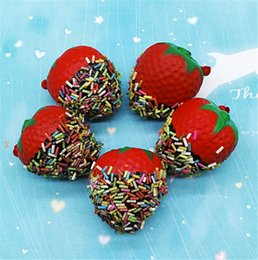Strawberry chocolateS online shopping - Simulated Chocolate Strawberry Squishy Hand Squeeze Toy Squishies Fruit Shape Decompression Toys Children Play House Plaything Gift hb CR