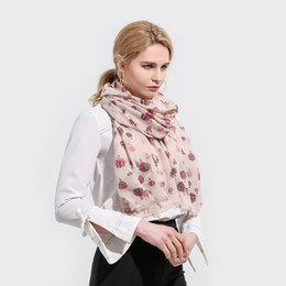 11583e7eb Winfox 2018 New Fashionable Beige Hot Air Balloon Print Scarf Foulard Femme  Hijab Scarves Wrap For Womens Mother Gifts