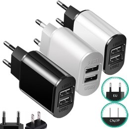 phone wall port 2019 - Quick Charge Dual Usb Ports 2.1A US EU Ac home travel wall charger power adapter for iphone 7 8 x Samsung s6 s7 android
