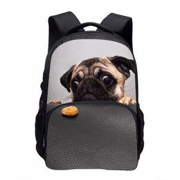 Chinese  2017 Fashion Kids Backpacks Girls School Bags for Teenagers Cute Pug Animals Dog Poodle Print School Rucksack Kids Book Bag manufacturers