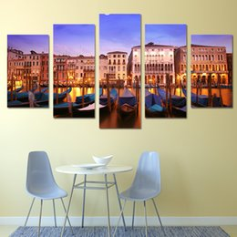 Homes Building NZ - Art Canvas HD Painting Wall For Home Living Room Decoration Print 5 Panel Beautiful Building Landscape Cuadros Modular Picture Poster