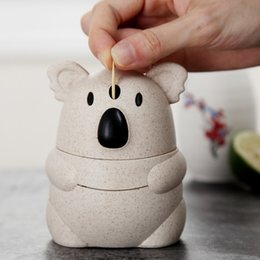 Eco toothpicks online shopping - 1 Kawaii Wheat Straw Koala Cartoon Cute Toothpick Holder Automatic Home Table Decoration Eco friendly Kitchen gadgets
