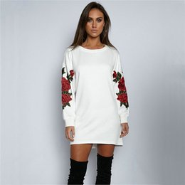 White Rose Pullover Australia - Autumn Womens Print Floral Embroidered Rose Long Sleeve Hoodie Sweatshirt Jumper Women Pullover Tops Casual Sweatwear Coat