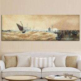 $enCountryForm.capitalKeyWord Australia - 1 Piece Modern Sailing Seaview Boat Wave Poster Print Abstract Seascape Oil Painting on Canvas Wall Picture for Living Room No Framed