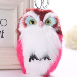 Discount fur animals keychain 15CM Cute Fluffy Owl Keychain & Pendant Women Key Ring Holder Faux Bunny Rabbit Fur Pompoms Key Chains For Handbag 2C026