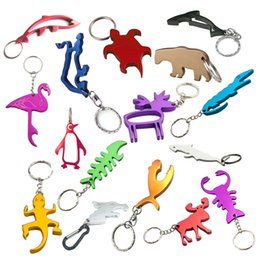 cute animal logos Canada - Personalized Logo Cute Aluminum Alloy Animal Wine Beer Bottle Opener Keychain Tool Key Ring Wedding Favor Gifts