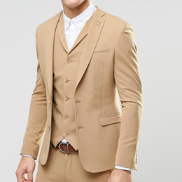 EvEning vEst online shopping - Three Piece Champagne Evening Party Men Suits Latest Trim Style Blazer Two Button Wedding Groom Tuxedos Jacket Pants Vest