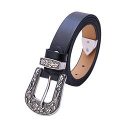 woman apparel wholesale 2019 - Women Female Belt Ancient Silver Vintage Flower Carving Buckle Leather Belt Women Fashion 110CM Length Black Apparel che