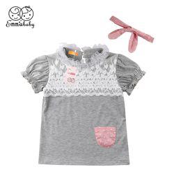 $enCountryForm.capitalKeyWord Australia - 2018 Latest Children's Wear Newborn Toddler Infant Baby Girl Soft Cotton Lace Dress+Headband Party Pageant Dresses Clothes 0-18M