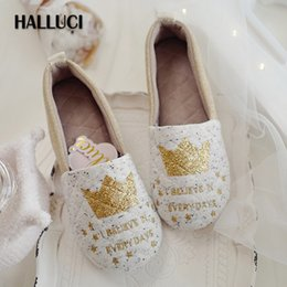 7ba879c55 HALLUCI golden crown kawaii home slippers women shoes polar cute heel cover indoor  simple primipara shoes flats women loafers