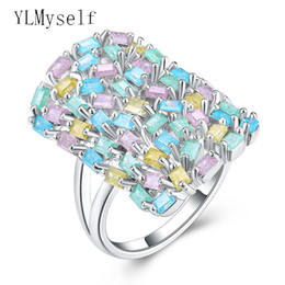 Bezel Rectangle Canada - whole saleNew Hot spring multi colorful rings for women aneis rectangle zirconia jewelry Luxury Accessories Fashion jewellery ring