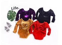 Wholesale baby rompers sale resale online – Ins Hot Sale Baby Girl Spring Autumn Velvet Climb Rompers Infant Toddlers Bowknot Pleuche Dancer Bodysuit Colors A08