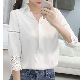 c4c357be1db9d6 Korean style white blouses shirts hoolow out office lady fashion top  Elegant half sleeves femme 2018 shirts top WS8917y