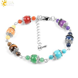 Wholesale CSJA mm Natural Chakra Women Bracelets Gem Stone Beads Rainbow Flower Charms Lobster Clasp Link Chain Meditation Jewelry E449
