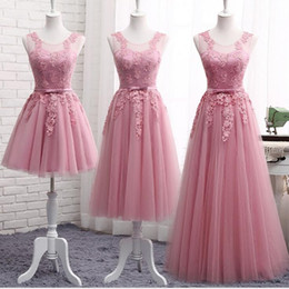 China Blush Bridesmaid Dresses 2019 Junior Maid Of Honor Gowns Formal Pleats Wedding Guest Dress Lace Tulle Mixed Orders vestido de novia supplier junior winter formal dresses suppliers