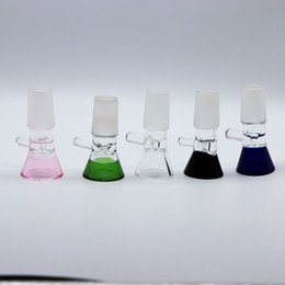 Discount pieces glasses - Glass Bowl Slide Funnel Piece Slides Bongs accessary tobacco smoking 14mm 18mm colorful male bowls 4mm heady thick For w