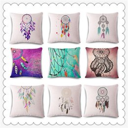 Dreaming pillow online shopping - Popular Decorative Throw Pillow Case Printed Dream Catcher Pattern Cushion Covers Square Soft Flax Pillowcase Hot Sale xa BB