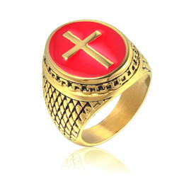 Wholesale cast band online – design Titanium steel gold plated Red Cross ring cast men s ring mix size to