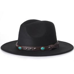 Großhandel Trendy Männer Frauen Casual Woolen Cowboy Hüte Fedora Caps Koreanischen Stil Unisex Breiter Krempe Panamahut Sommer Strand Sun Cap Sunhat