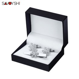 Discount snowflake clip - SAVOYSHI High Quality Cuff links necktie clip for tie pin for mens Snowflake tie bars cufflinks clip set Gift Free Shipp