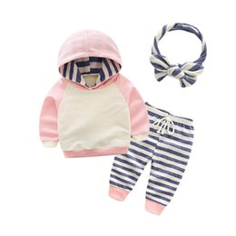 Chinese  2018 Cute Infant Baby Girl Clothes Sets Hooded Long Sleeve Sweatshirt Spring Autumn 2pcs Outfit Cotton Baby Tracksuit Set manufacturers