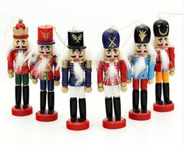 Folk Art Christmas Australia - 6pcs Nutcracker Puppet Zakka Creative Desktop Decoration 12cm Wood Made Christmas Ornaments Drawing Walnuts Soldiers, Band Dolls