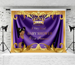 backdrop party Australia - 7x5ft Baby Shower Purple Backdrop Royal Children Birthday Party Photography Background for Photographer Newborn Photo Golden Banner Studio